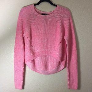 NWOT Aqua Pink Cropped Knit Sweater